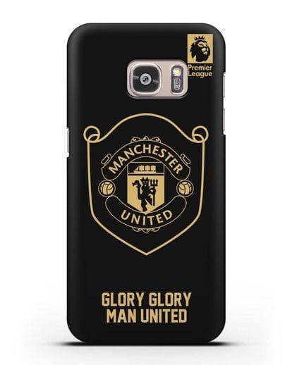 Чехол с золотым логотипом Manchester United с надписью GLORY, GLORY MAN UNITED силикон черный для Samsung Galaxy S7 [SM-G930F]