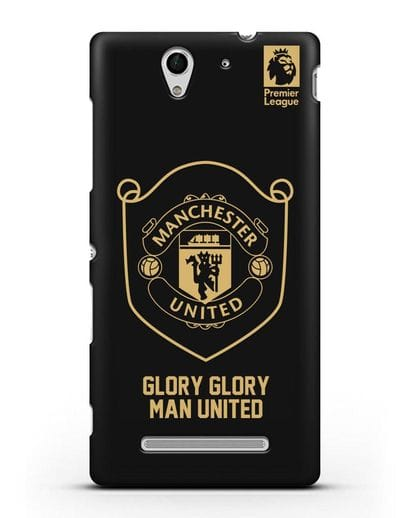 Чехол с золотым логотипом Manchester United с надписью GLORY, GLORY MAN UNITED силикон черный для Sony Xperia C3