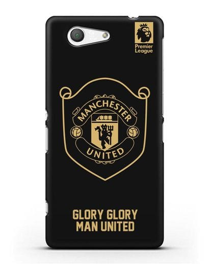 Чехол с золотым логотипом Manchester United с надписью GLORY, GLORY MAN UNITED силикон черный для Sony Xperia Z3 Compact