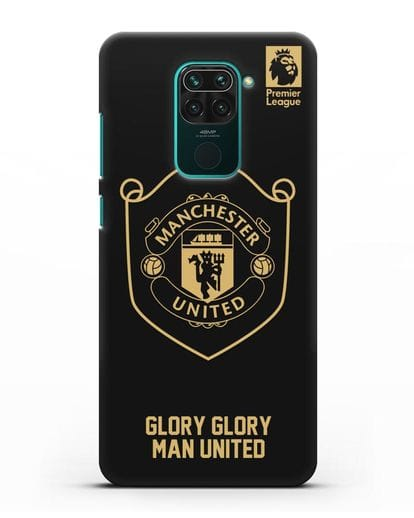 Чехол с золотым логотипом Manchester United с надписью GLORY, GLORY MAN UNITED силикон черный для Xiaomi Redmi Note 9