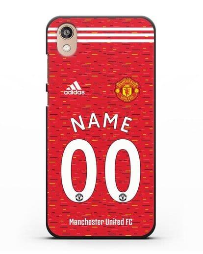 Именной чехол ФК Манчестер Юнайтед с фамилией и номером (сезон 2020-2021) домашняя форма силикон черный для Honor 8S