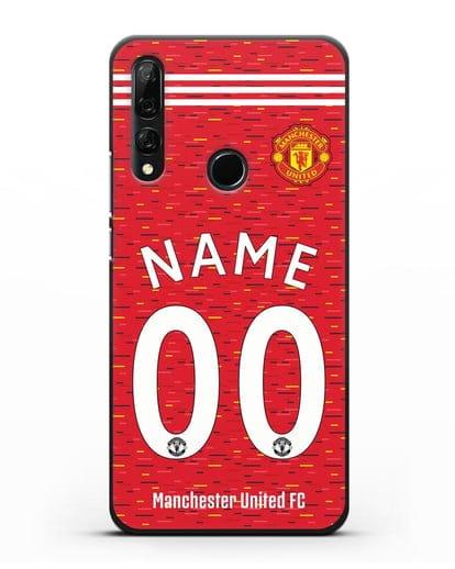 Именной чехол ФК Манчестер Юнайтед с фамилией и номером (сезон 2020-2021) домашняя форма силикон черный для Honor 9X