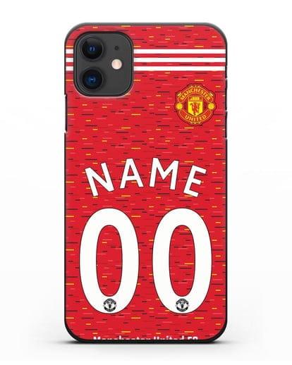 Именной чехол ФК Манчестер Юнайтед с фамилией и номером (сезон 2020-2021) домашняя форма силикон черный для iPhone 11