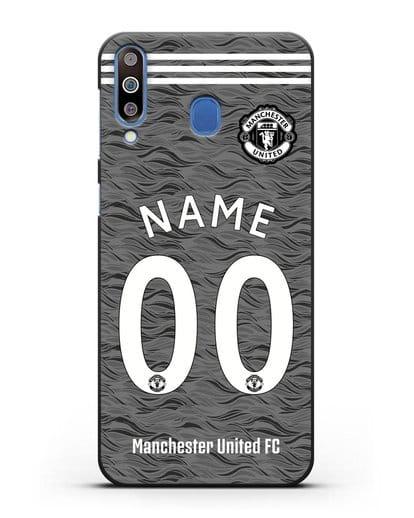 Именной чехол ФК Манчестер Юнайтед с фамилией и номером (сезон 2020-2021) гостевая форма силикон черный для Samsung Galaxy M30 [SM-M305F]