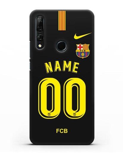 Именной чехол Барселона с фамилией и номером (сезон 2018-2019) черная форма силикон черный для Honor 9X