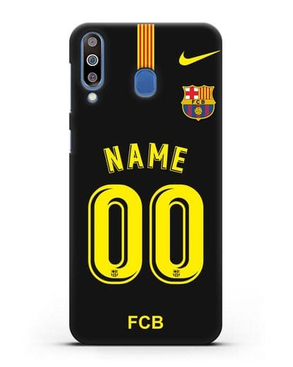 Именной чехол Барселона с фамилией и номером (сезон 2018-2019) черная форма силикон черный для Samsung Galaxy M30 [SM-M305F]