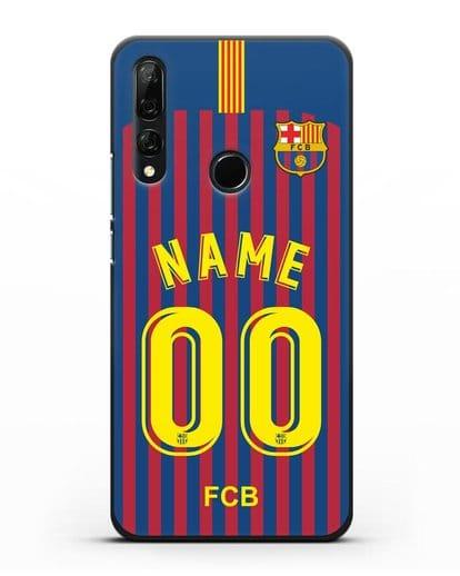 Именной чехол Барселона с фамилией и номером (сезон 2018-2019) сине-красная форма силикон черный для Honor 9X