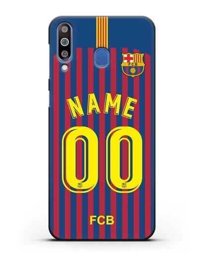 Именной чехол Барселона с фамилией и номером (сезон 2018-2019) сине-красная форма силикон черный для Samsung Galaxy M30 [SM-M305F]