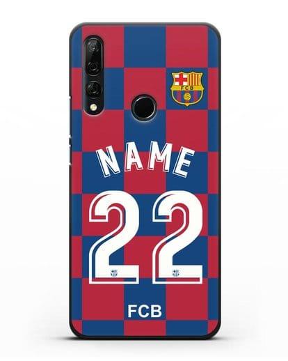 Именной чехол Барселона с фамилией и номером (сезон 2019-2020) красно-синяя форма силикон черный для Honor 9X