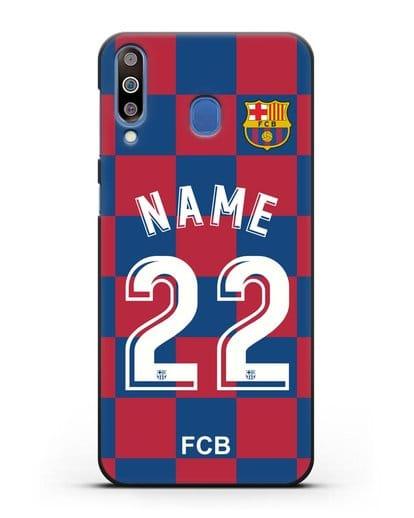 Именной чехол Барселона с фамилией и номером (сезон 2019-2020) красно-синяя форма силикон черный для Samsung Galaxy M30 [SM-M305F]
