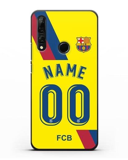 Именной чехол Барселона с фамилией и номером (сезон 2019-2020) желтая форма силикон черный для Honor 9X