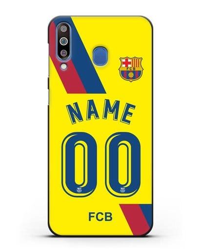 Именной чехол Барселона с фамилией и номером (сезон 2019-2020) желтая форма силикон черный для Samsung Galaxy M30 [SM-M305F]