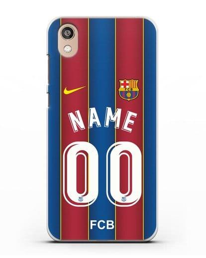 Именной чехол ФК Барселона с фамилией и номером (сезон 2020-2021) домашняя форма силикон прозрачный для Honor 8S