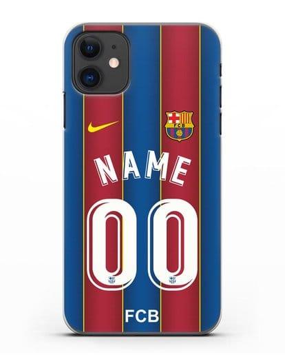 Именной чехол ФК Барселона с фамилией и номером (сезон 2020-2021) домашняя форма силикон прозрачный для iPhone 11