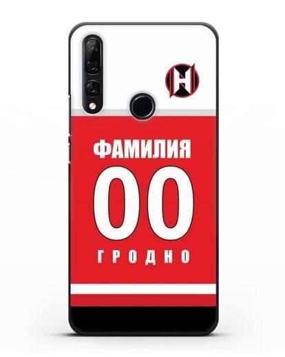 Именной чехол ХК Неман Гродно с фамилией и номером (сезон 2018-2019) красная форма силикон черный для Honor 9X
