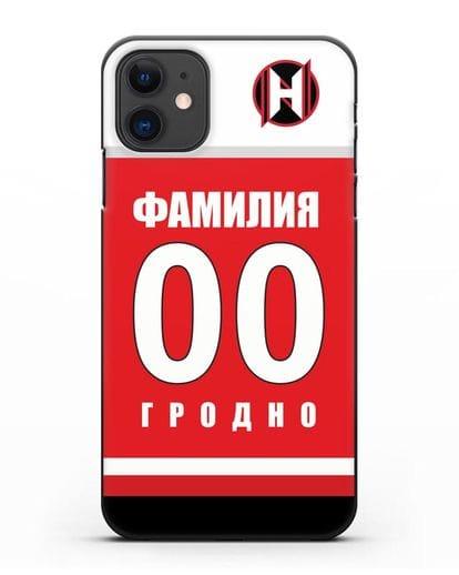 Именной чехол ХК Неман Гродно с фамилией и номером (сезон 2018-2019) красная форма силикон черный для iPhone 11