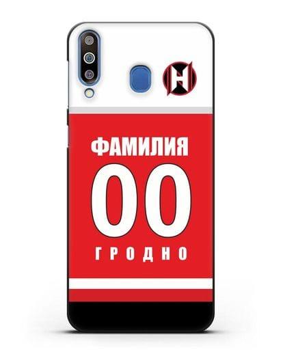 Именной чехол ХК Неман Гродно с фамилией и номером (сезон 2018-2019) красная форма силикон черный для Samsung Galaxy M30 [SM-M305F]