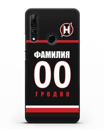 Именной чехол ХК Неман Гродно с фамилией и номером (сезон 2018-2019) черная форма силикон черный для Honor 9X