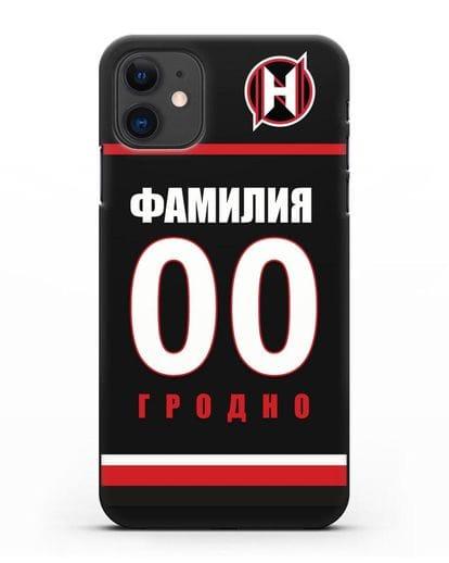 Именной чехол ХК Неман Гродно с фамилией и номером (сезон 2018-2019) черная форма силикон черный для iPhone 11