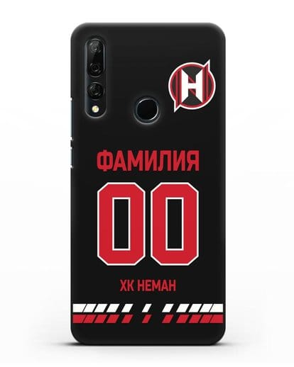 Именной чехол ХК Неман Гродно с фамилией и номером (сезон 2019-2020) черная форма силикон черный для Honor 9X