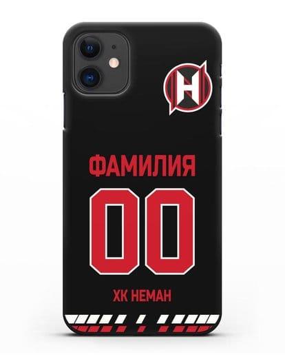 Именной чехол ХК Неман Гродно с фамилией и номером (сезон 2019-2020) черная форма силикон черный для iPhone 11