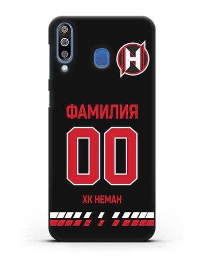 Именной чехол ХК Неман Гродно с фамилией и номером (сезон 2019-2020) черная форма силикон черный для Samsung Galaxy M30 [SM-M305F]