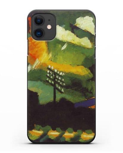 Чехол Вид Мурнау с железной дорогой и замком (Кандинский Василий) силикон черный для iPhone 11