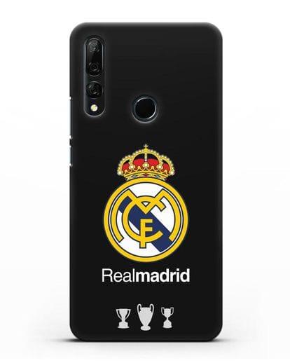 Чехол Реал Мадрид с логотипом и кубками силикон черный для Honor 9X