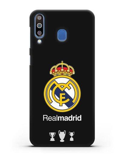 Чехол Реал Мадрид с логотипом и кубками силикон черный для Samsung Galaxy M30 [SM-M305F]