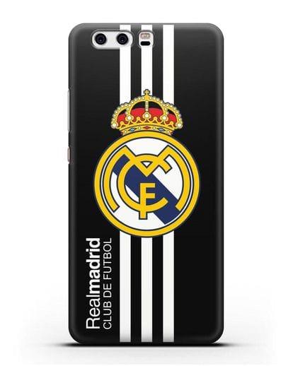 Чехол с надписью Real Madrid Club de Futbol силикон черный для Huawei P10 Plus