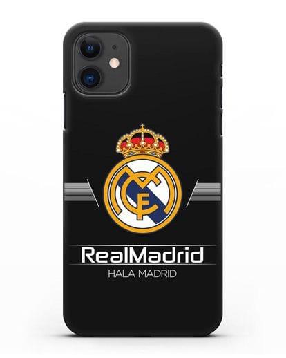 Чехол с логотипом Real Madrid и надписью Hala Madrid силикон черный для iPhone 11