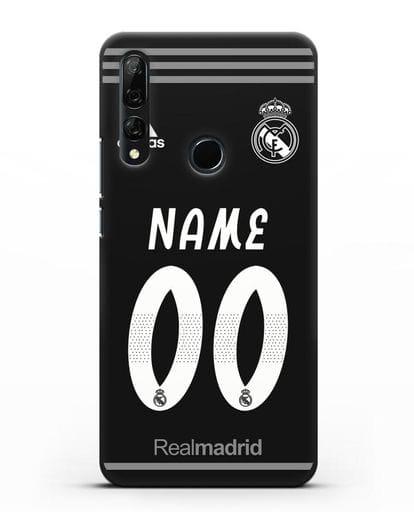 Именной чехол Реал Мадрид с фамилией и номером (сезон 2018-2019) черная форма силикон черный для Honor 9X