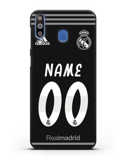 Именной чехол Реал Мадрид с фамилией и номером (сезон 2018-2019) черная форма силикон черный для Samsung Galaxy M30 [SM-M305F]