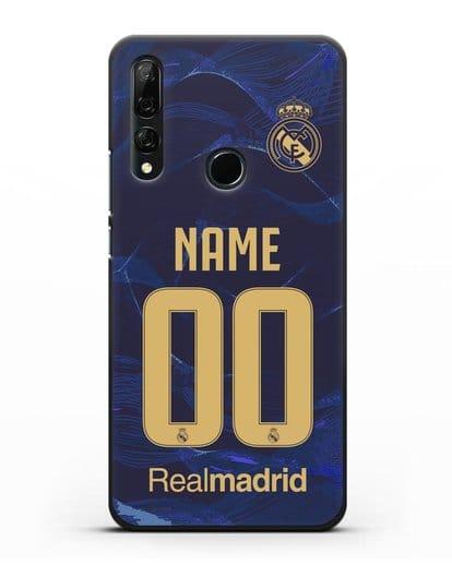Именной чехол Реал Мадрид с фамилией и номером (сезон 2019-2020) синяя форма силикон черный для Honor 9X