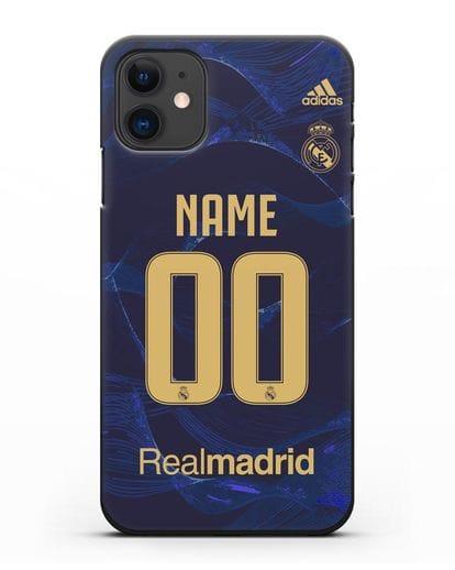 Именной чехол Реал Мадрид с фамилией и номером (сезон 2019-2020) синяя форма силикон черный для iPhone 11