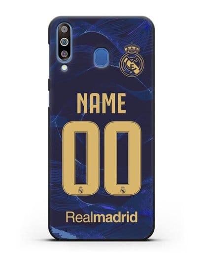 Именной чехол Реал Мадрид с фамилией и номером (сезон 2019-2020) синяя форма силикон черный для Samsung Galaxy M30 [SM-M305F]