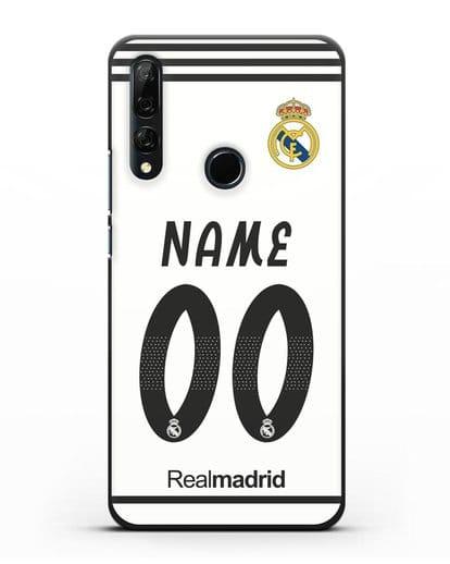 Именной чехол Реал Мадрид с фамилией и номером (сезон 2018-2019) белая форма силикон черный для Honor 9X