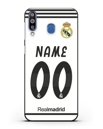 Именной чехол Реал Мадрид с фамилией и номером (сезон 2018-2019) белая форма силикон черный для Samsung Galaxy M30 [SM-M305F]
