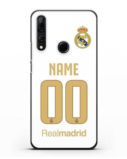 Именной чехол Реал Мадрид с фамилией и номером (сезон 2019-2020) белая форма силикон черный для Honor 9X