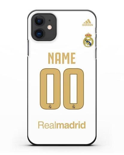 Именной чехол Реал Мадрид с фамилией и номером (сезон 2019-2020) белая форма силикон черный для iPhone 11