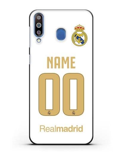 Именной чехол Реал Мадрид с фамилией и номером (сезон 2019-2020) белая форма силикон черный для Samsung Galaxy M30 [SM-M305F]