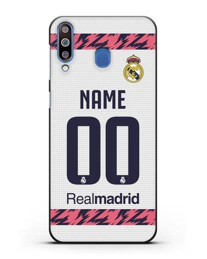 Именной чехол ФК Реал Мадрид с фамилией и номером (сезон 2020-2021) домашняя форма силикон черный для Samsung Galaxy M30 [SM-M305F]