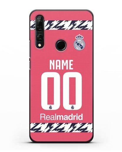 Именной чехол ФК Реал Мадрид с фамилией и номером (сезон 2020-2021) гостевая форма силикон черный для Honor 9X