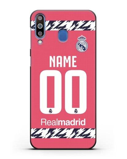 Именной чехол ФК Реал Мадрид с фамилией и номером (сезон 2020-2021) гостевая форма силикон черный для Samsung Galaxy M30 [SM-M305F]