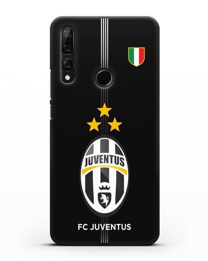 Чехол Ювентус со звездами и флагом Италии силикон черный для Honor 9X