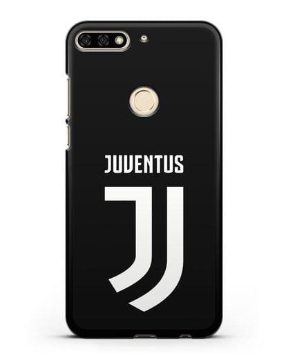 Чехол с логотипом и надписью Juventus силикон черный для Honor 7C