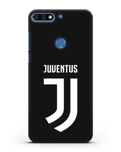 Чехол с логотипом и надписью Juventus силикон черный для Honor 7C Pro