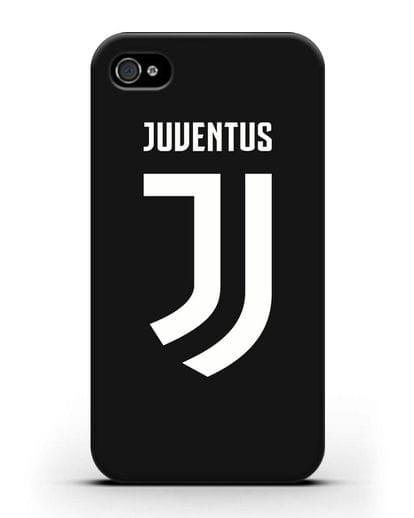 Чехол с логотипом и надписью Juventus силикон черный для iPhone 4/4s
