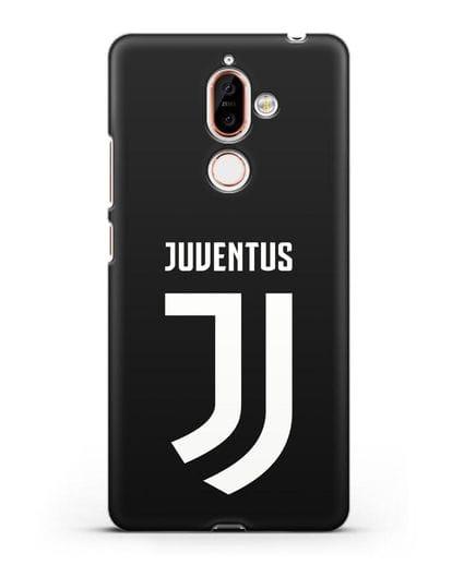 Чехол с логотипом и надписью Juventus силикон черный для Nokia 7 plus