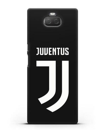 Чехол с логотипом и надписью Juventus силикон черный для Sony Xperia 10